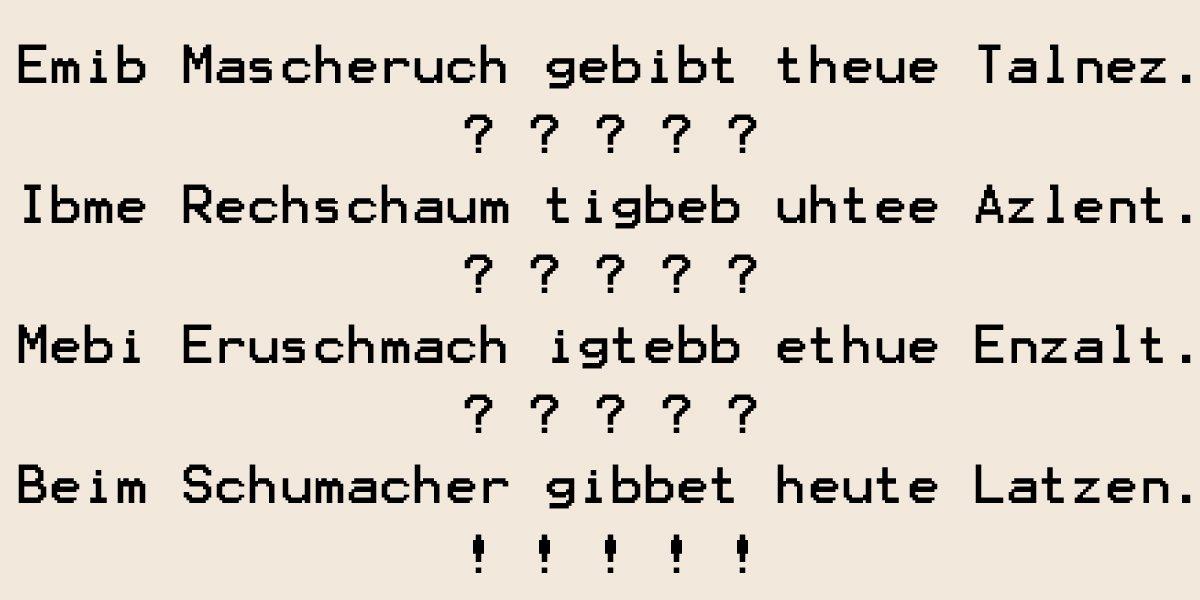 Beim Schumacher gibbet heute Latzen!